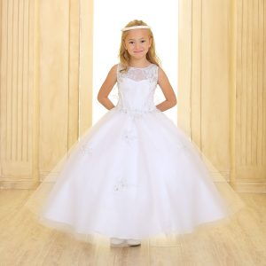 Girls First Communion or Pageant Gown Tulle with Lace Accents White