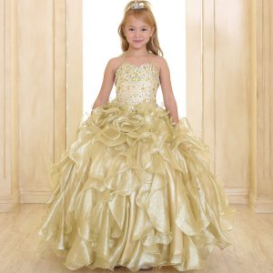 Girls Gold Pageant Gown with Ruffled Skirt and Metallic Bodice