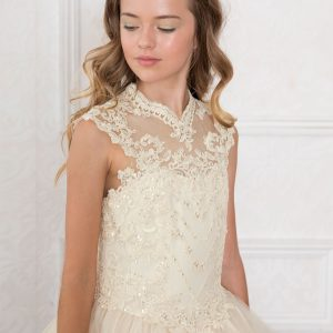 Girls Champagne Pageant Dress Tulle with Lace Accents Organza V Neckline