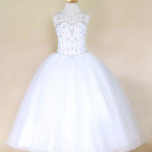 Girls Pageant Dress Open Corset Back White