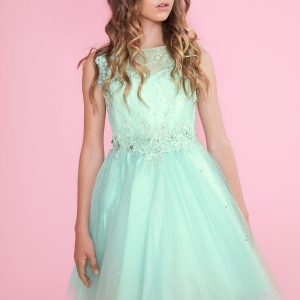 Girls Pageant Dress Short Skirt Mint Color with Lace Accents