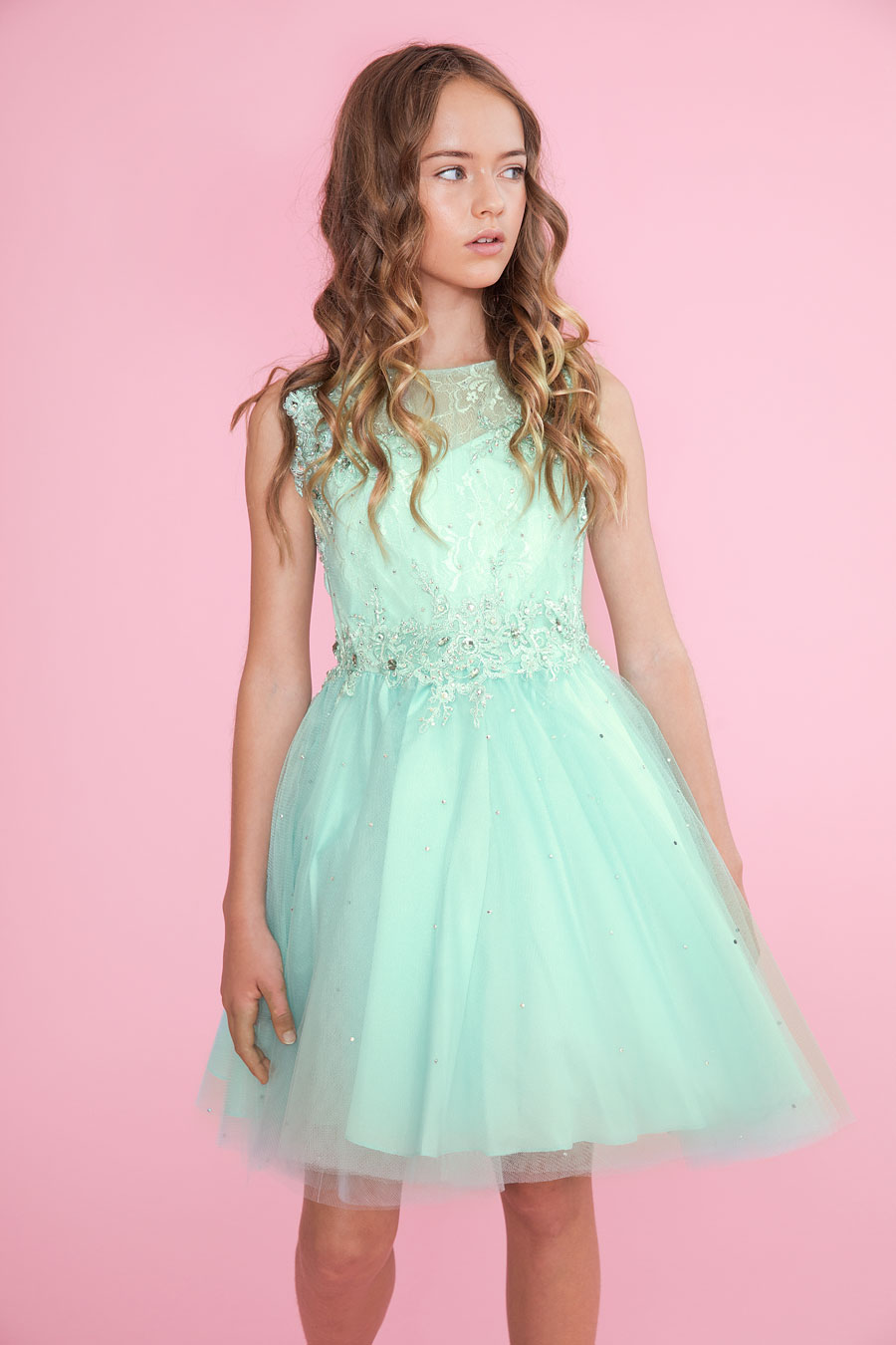 Girls Pageant Dress Tulle with Lace Accents – FirstCommunions.com
