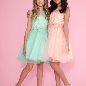 Girls Pageant Dress Tulle with Lace Accents