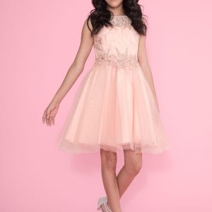 Girls Pageant Dress Tulle with Lace Accents Blush