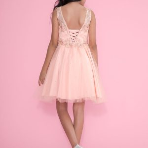 Girls Pageant Dress Tulle with Lace Accents Blush Pink