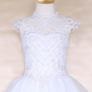 Girls Pageant Dress Tulle with Lace Accents Cap Sleeves