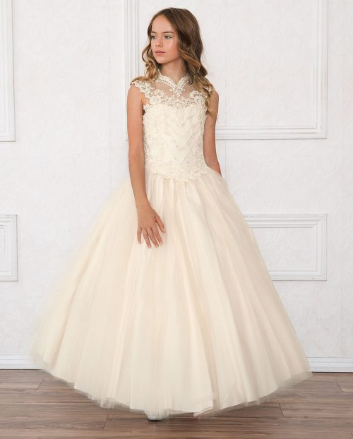 Girls Pageant Dress Tulle with Lace Accents Champagne