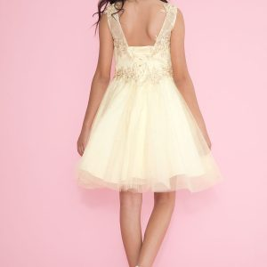Girls Pageant Dress Tulle with Lace Accents Champagne Short Skirt