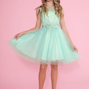 Girls Pageant Dress Tulle with Lace Accents Mint