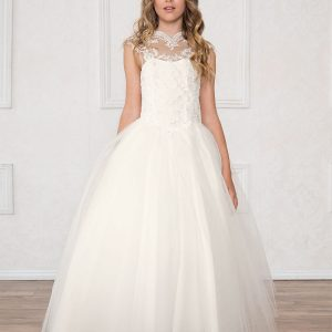Girls Pageant Dress Tulle with Lace Accents Off White