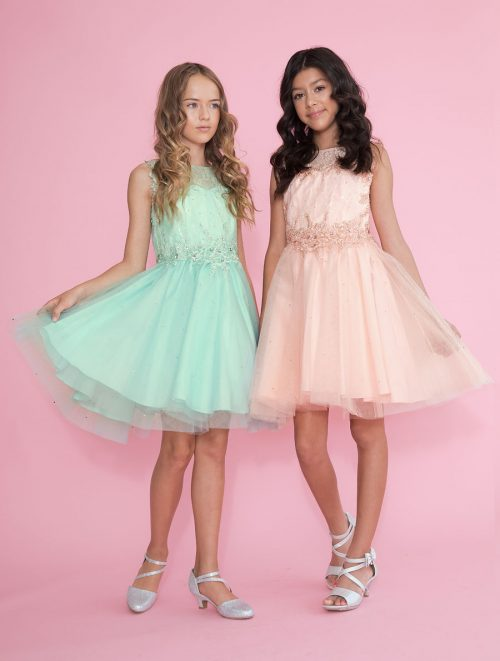 Girls Pageant Dress Tulle with Lace Accents Short Skirt