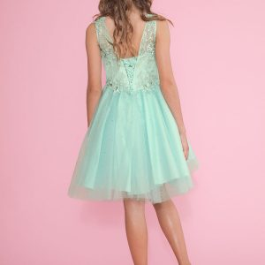 Girls Pageant Dress Tulle with Lace Accents Short Skirt Mint Color