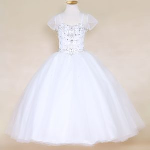 Girls Pageant Dress White with Rhinestone Bodice