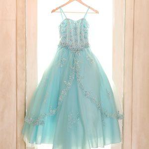 Girls Pageant Dress with Embellished Beading Aqua