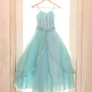 Girls Pageant Dress with Embellished Beading Aqua