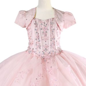 Girls Pageant Dress with Embellished Beading Pink