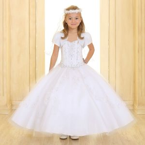 Girls Pageant Dress with Embellished Beading White