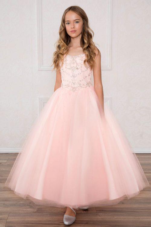 Girls Pageant Dress with Rhinestone Bodice Blush