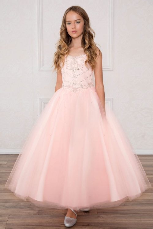 Girls Pageant Dress with Rhinestone Bodice Blush