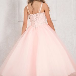 Girls Pageant Dress with Rhinestone Bodice Blush Color