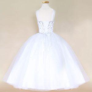 Girls Pageant Dress with Rhinestone Bodice White