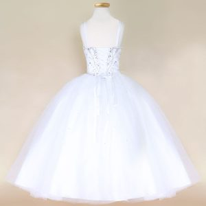Girls Pageant Dress with Rhinestone Bodice White