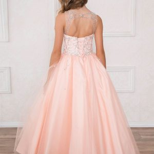 Girls Pageant Gown Blush Pink Rhinestone Accents