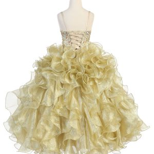 Girls Pageant Gown Gold Ruffled Skirt and Metallic Bodice