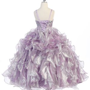Girls Pageant Gown Lilac Ruffled Skirt and Metallic Bodice