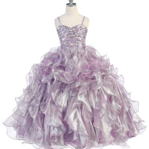 Girls Pageant Gown Lilac with Ruffled Skirt and Metallic Bodice