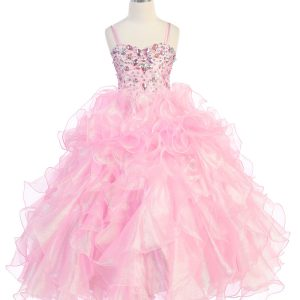 Girls Pageant Gown Pink with Ruffled Skirt and Metallic Bodice