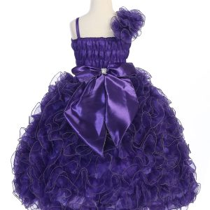 Girls Pageant Gown Purple with Ruffled Skirt and Shoulder