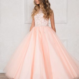Girls Pageant Gown Rhinestone Accents Blush Pink Long Length