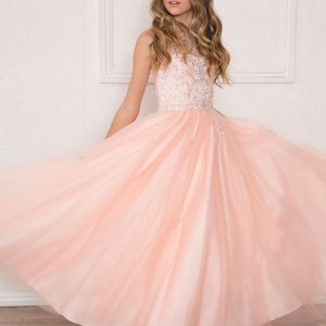 Girls Pageant Gown Rhinestone Accents Blush Pink Sleeveless
