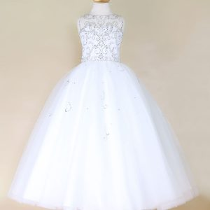 Girls Pageant Gown Rhinestone Accents White