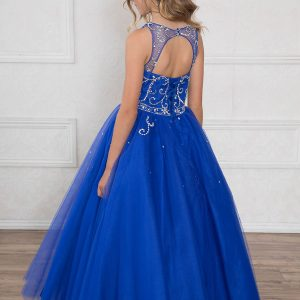 Girls Pageant Gown Rhinestone Patten Long Length Royal Blue