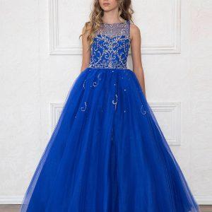 Girls Pageant Gown Rhinestone Patten Royal Blue