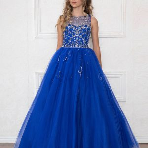 Girls Pageant Gown Rhinestone Patten Royal Blue