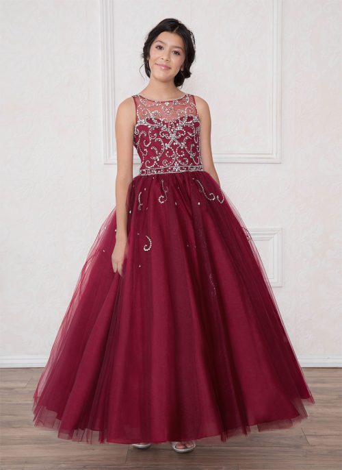 Girls Pageant Gown Rhinestone Patten Wine