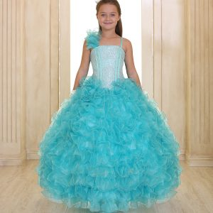 Girls Pageant Gown Ruffled Skirt and Shoulder Aqua