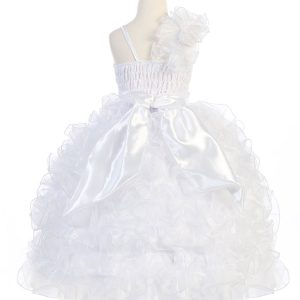 Girls Pageant Gown Ruffled Skirt and Shoulder White