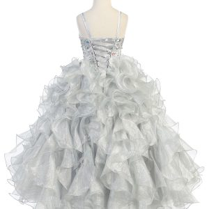 Girls Pageant Gown Silver Ruffled Skirt and Metallic Bodice