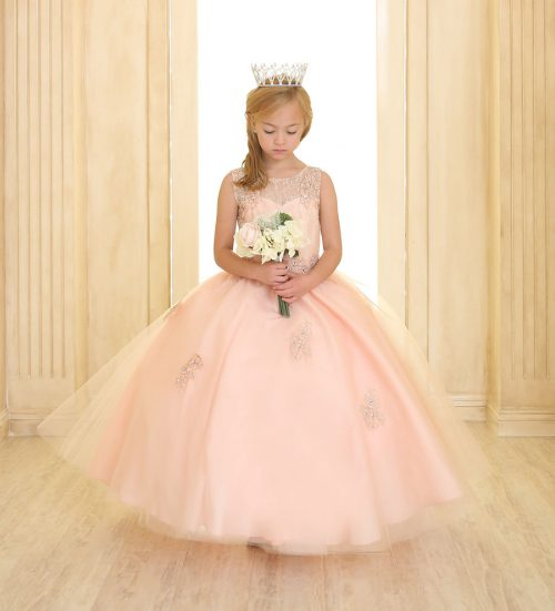 Girls Pageant Gown Tulle with Lace Accents Blush