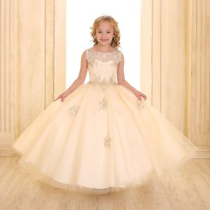 Girls Pageant Gown Tulle with Lace Accents Champ