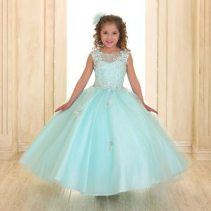 Girls Pageant Gown Tulle with Lace Accents Mint