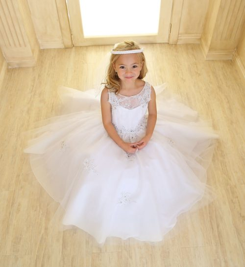 Girls Pageant Gown Tulle with Lace Accents White
