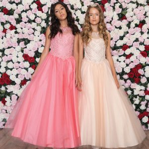 Girls Pageant Gown with Rhinestone Basket Weave Design