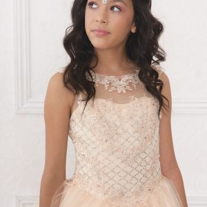 Girls Pageant Gown with Rhinestone Basket Weave Design Blush