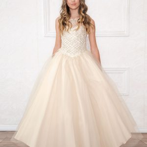 Girls Pageant Gown with Rhinestone Basket Weave Design Champagne