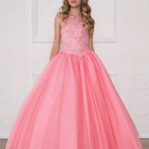 Girls Pageant Gown with Rhinestone Basket Weave Design Coral